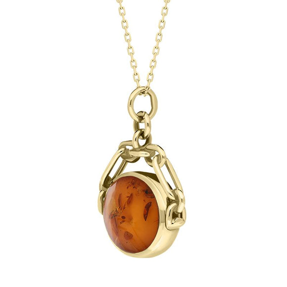 9ct Yellow Gold Whitby Jet Amber Double Sided Swivel Necklace P209