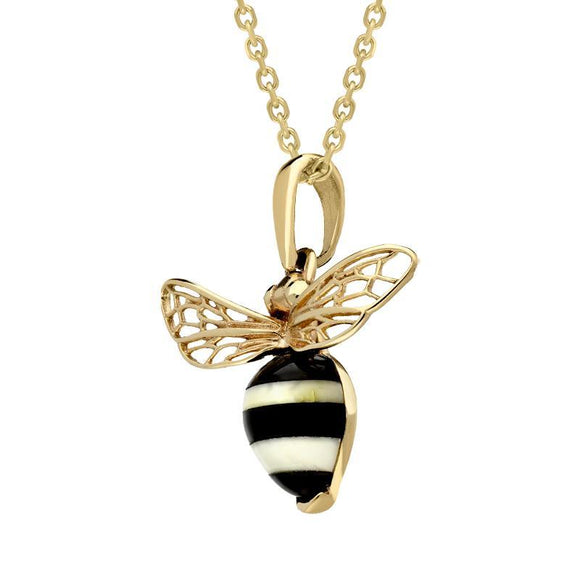 9ct Yellow Gold Whitby Jet Amber Winged Bee Necklace P3341
