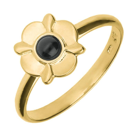 9ct Yellow Gold Whitby Jet Four Petal Round Ring R741