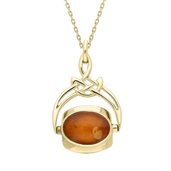 9ct Yellow Gold Whitby Jet Mother of Pearl Amber Cradle Round Swivel Fob Necklace P258_5