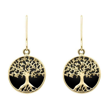 9ct Yellow Gold Whitby Jet Round Tree Drop Earrings E2429