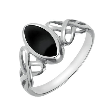 9ct White Gold Whitby Jet Marquise Celtic Ring R462