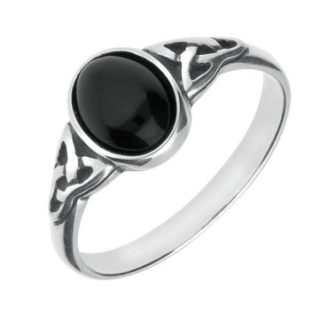 9ct White Gold Whitby Jet Oval Celtic Shoulder Ring R827