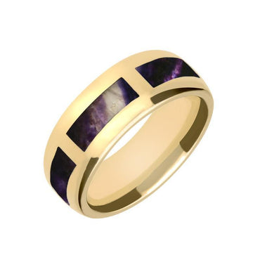 9ct Yellow Gold Blue John Gap 8mm Wedding Band Ring, R585.