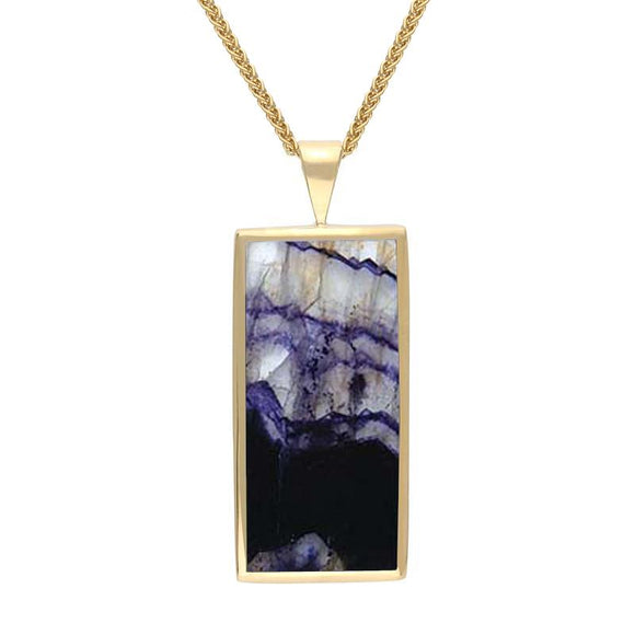 9ct Yellow Gold Blue John Large Oblong Necklace P078