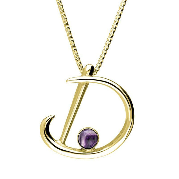 9ct Yellow Gold Blue John Love Letters Initial D Necklace P3451C