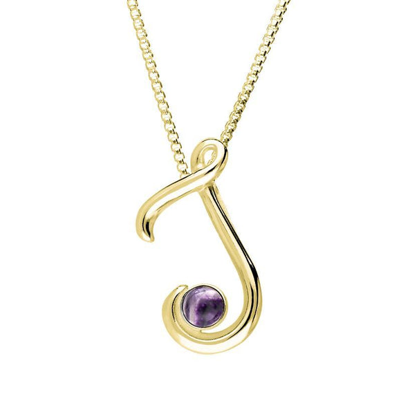 9ct Yellow Gold Blue John Love Letters Initial J Necklace P3457C