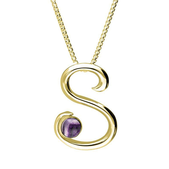 9ct Yellow Gold Blue John Love Letters Initial S Necklace P3466C