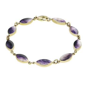 9ct Yellow Gold Blue John Marquise Bracelet. B184.