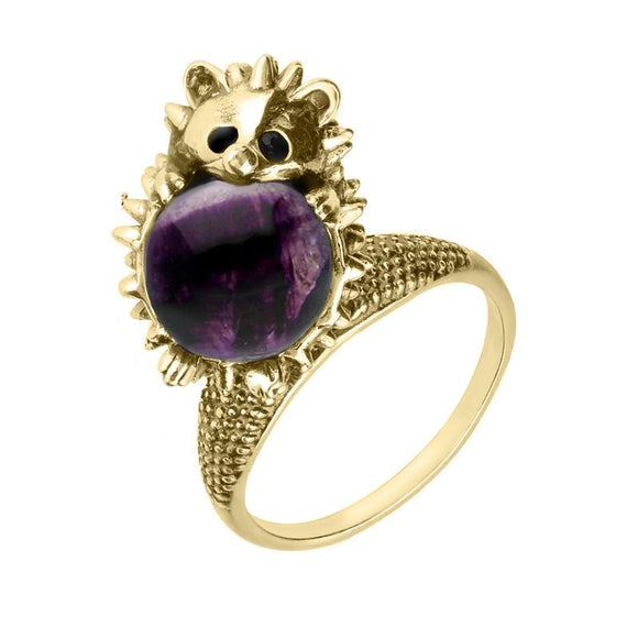 9ct Yellow Gold Blue John Medium Hedgehog Ring R1163
