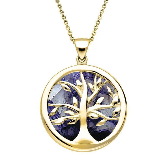 Yellow Gold Blue John Medium Round Tree of Life Necklace P3441
