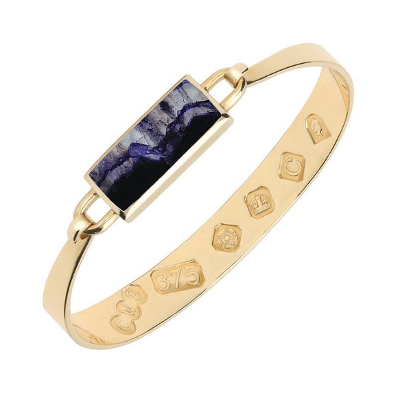 9ct Yellow Gold Blue John Oblong Bangle. B030