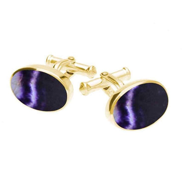 9ct Yellow Gold Blue John Oval Cushion Cufflinks CL127