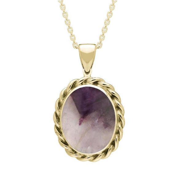 9ct Yellow Gold Blue John Oval Rope Edge Necklace, P251.