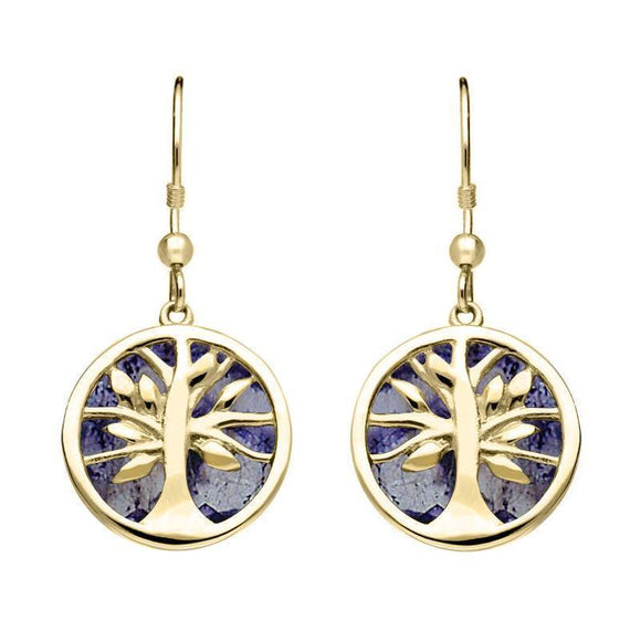 9ct Yellow Gold Blue John Round Tree of Life Drop Earrings E2485
