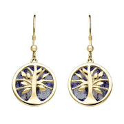 9ct Yellow Gold Blue John Medium Round Tree of Life Two Piece Set S065