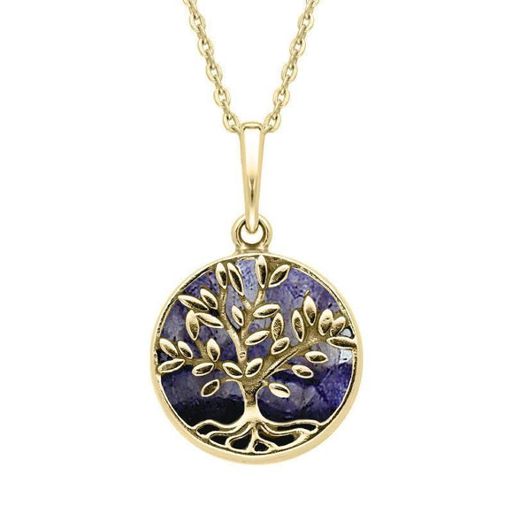 9ct Yellow Gold Blue John Small Round Large Leaves Tree of Life Necklace P3340