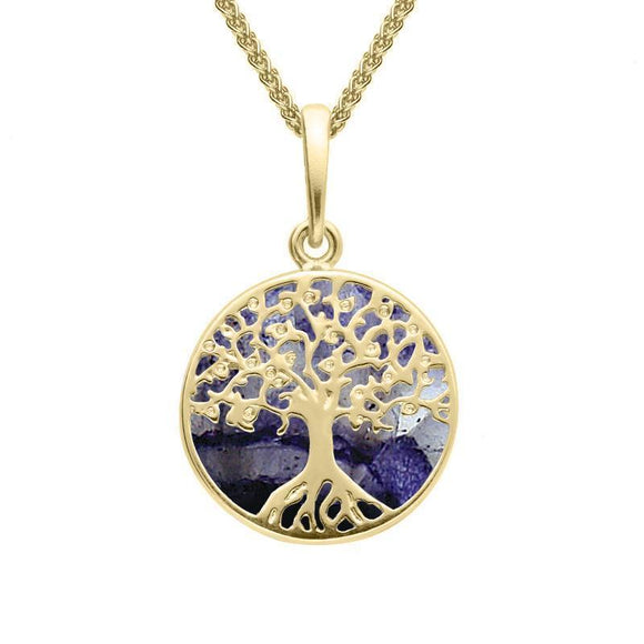 9ct Yellow Gold Blue John Small Round Tree Of Life Necklace P3339