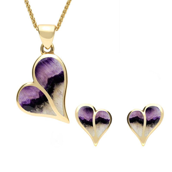 9ct Yellow Gold Blue John Split Heart Two Piece Set, S053.