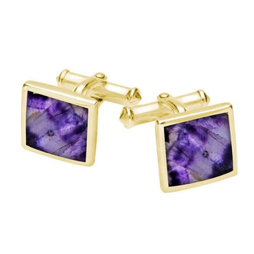 9ct Yellow Gold Blue John Square Flat Cufflinks CL098