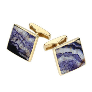 9ct Yellow Gold Blue John Square Shaped Cufflinks, CL417.