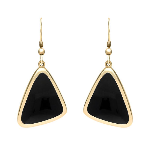 9ct Yellow Gold Whitby Jet Abstract Triangle Hook Drop Earrings, E1281