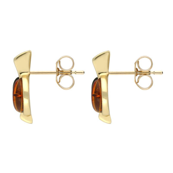 9ct Yellow Gold Whitby Jet Amber Semi Circle Long Top Stud Earrings E1030