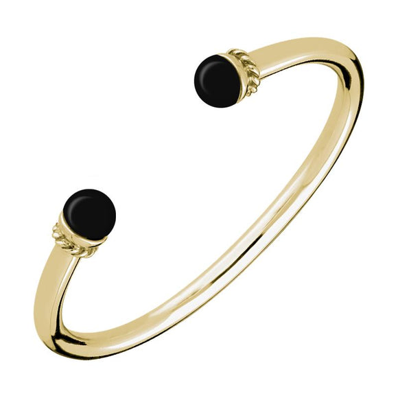 9ct Yellow Gold Whitby Jet Bead Twist Bangle. B724.