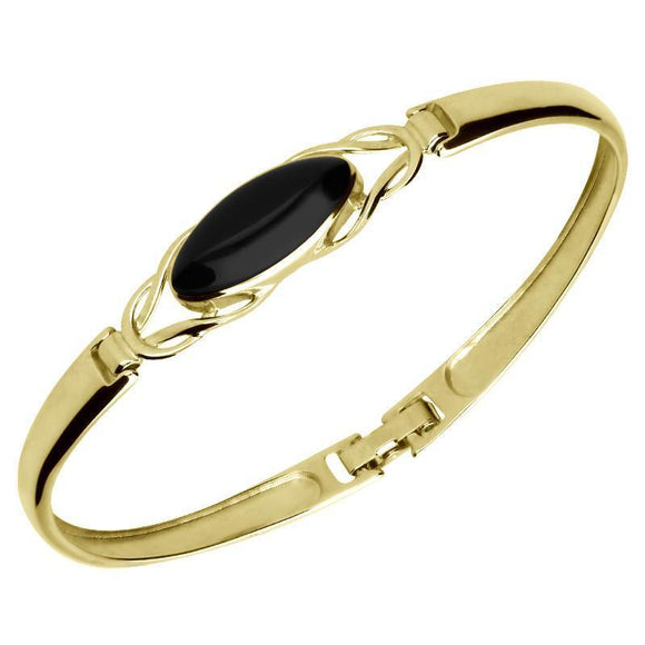 9ct Yellow Gold Whitby Jet Celtic Oval Clip Bangle B589