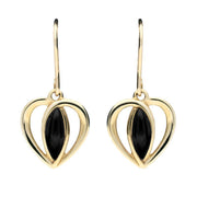 9ct Yellow Gold Whitby Jet Centre Stone Heart Two Piece Set S024