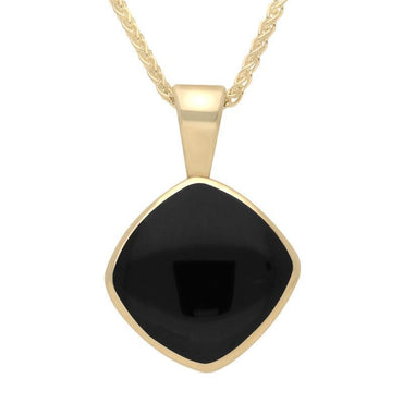 9ct Yellow Gold Whitby Jet Cushion Shaped Necklace. P021.