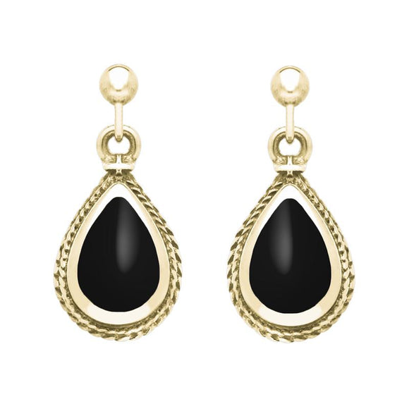 9ct Yellow Gold Whitby Jet Gold Pear Shaped Drop Earrings, E031.