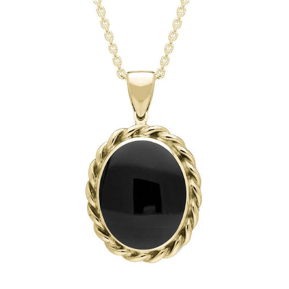 9ct Yellow Gold Whitby Jet Large Rope Oval Necklace P251