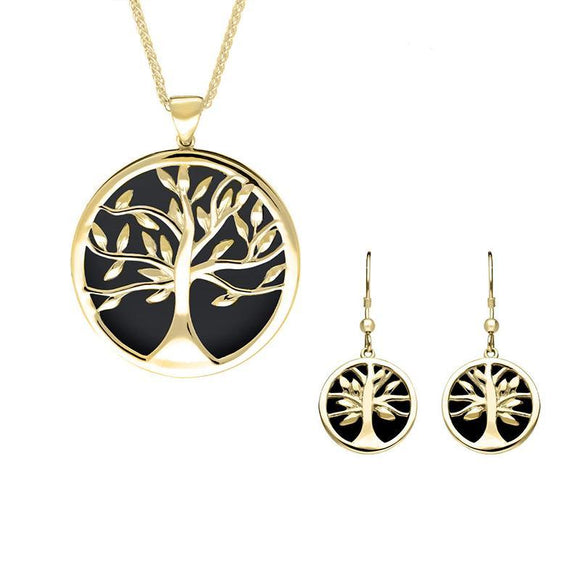 9ct Yellow Gold Whitby Jet Large Round Tree of Life Two Piece Set S063