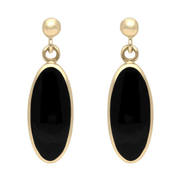 9ct Yellow Gold Whitby Jet Light Long Oval Drop Earrings E146