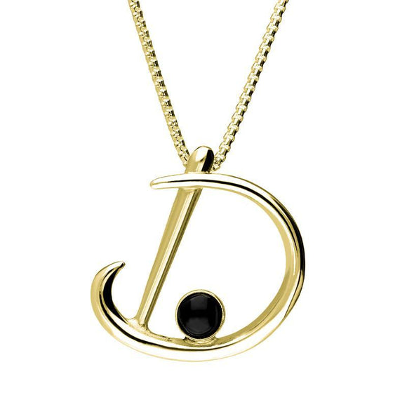 9ct Yellow Gold Whitby Jet Love Letters Initial D Necklace P3451C