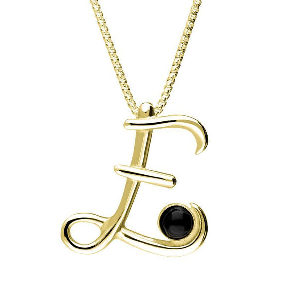 9ct Yellow Gold Whitby Jet Love Letters Initial E Necklace P3452C