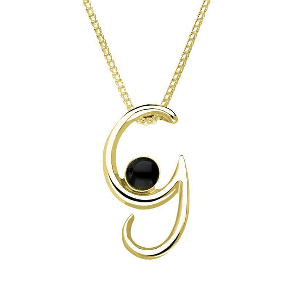9ct Yellow Gold Whitby Jet Love Letters Initial G Necklace P3454C