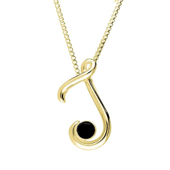 9ct Yellow Gold Whitby Jet Love Letters Initial J Necklace P3457C