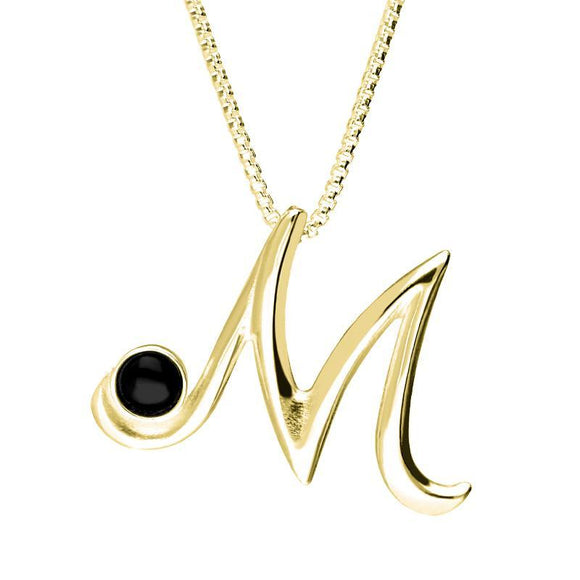 9ct Yellow Gold Whitby Jet Love Letters Initial M Necklace P3460C