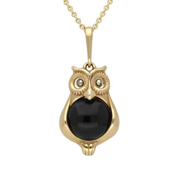 9ct Yellow Gold Whitby Jet Marcasite Small Owl Necklace, P2325.