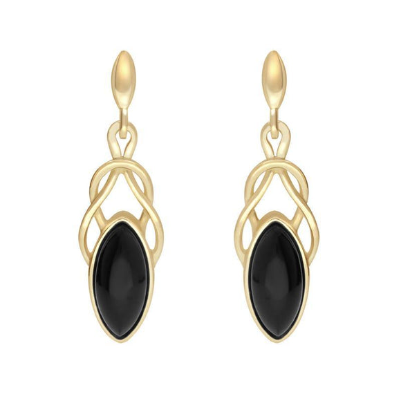 9ct Yellow Gold Whitby Jet Marquise Celtic Twist Two Piece Set S056