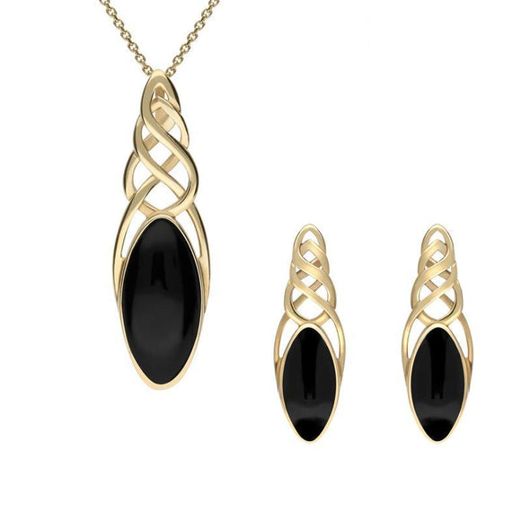 9ct Yellow Gold Whitby Jet Marquise Pierced Long Two Piece Set, S054.