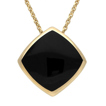 9ct Yellow Gold Whitby Jet Cushion Necklace. P1474.
