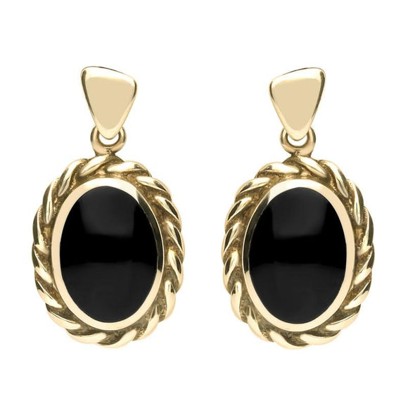 9ct Yellow Gold Whitby Jet Oval Rope Edge Triangle Bale Drop Earrings E286