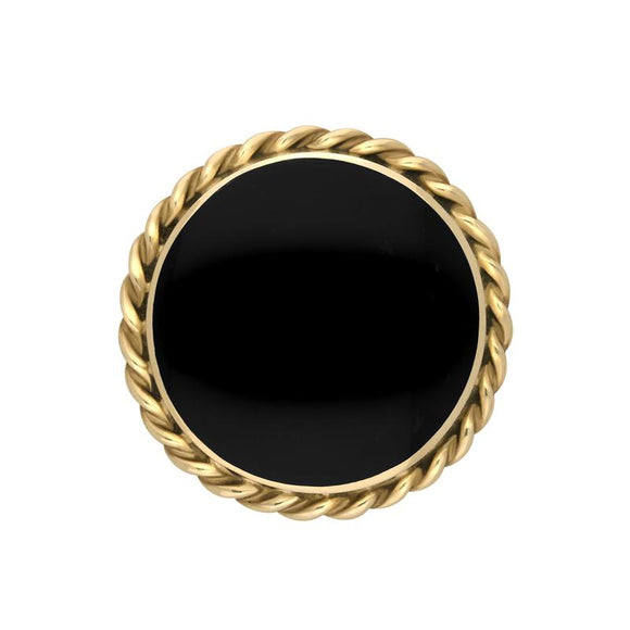 9ct Yellow Gold Whitby Jet Round Rope Edge Brooch M177