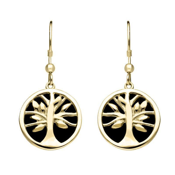 9ct Yellow Gold Whitby Jet Round Tree of Life Drop Earrings E2485