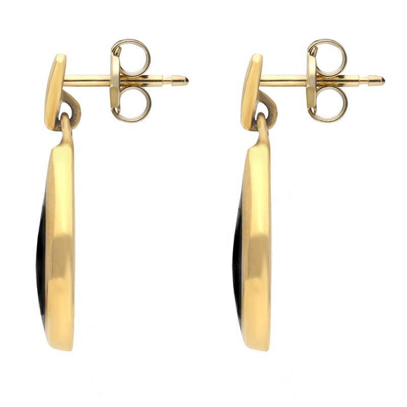 9ct Yellow Gold Whitby Jet Small Pointed Pear Drop Earrings E686