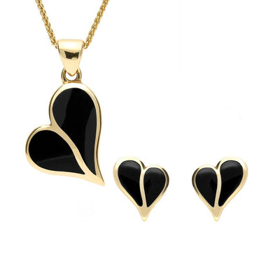9ct Yellow Gold Whitby Jet Split Heart Two Piece Set, S053.