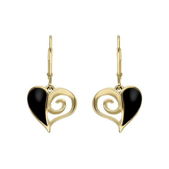 9ct Yellow Gold Whitby Jet Swirl Heart Hook Drop Earrings. E1872.